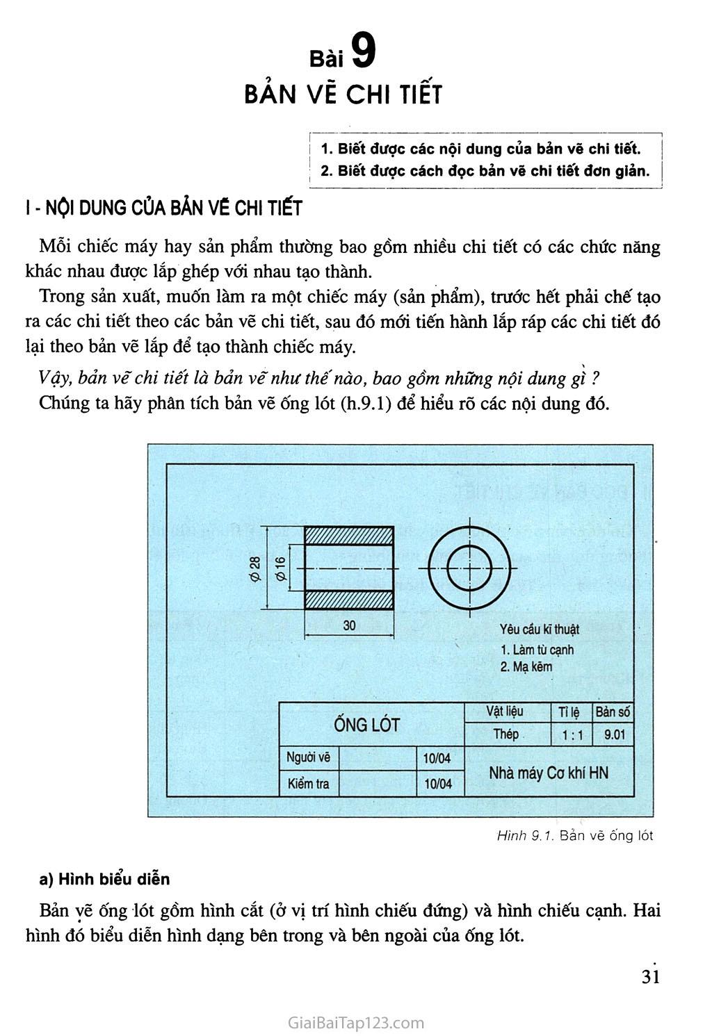 Bài 9. Bản vẽ chi tiết trang 1