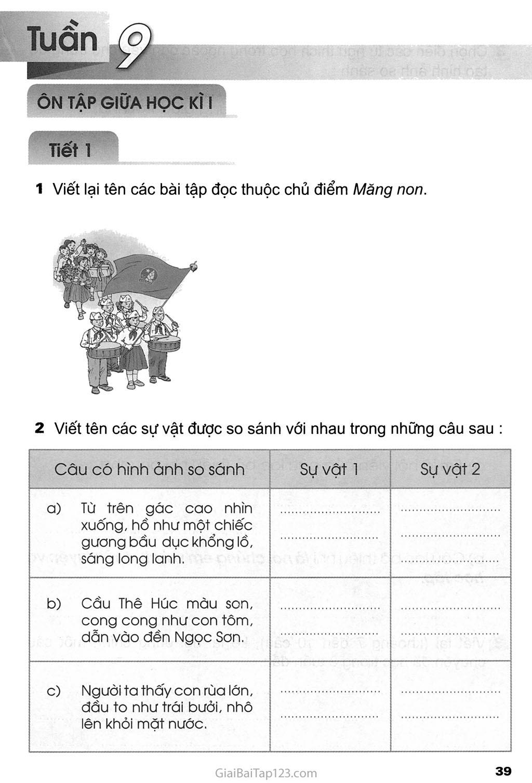 Tuần 9 - Ôn tập giữa học kì I trang 1