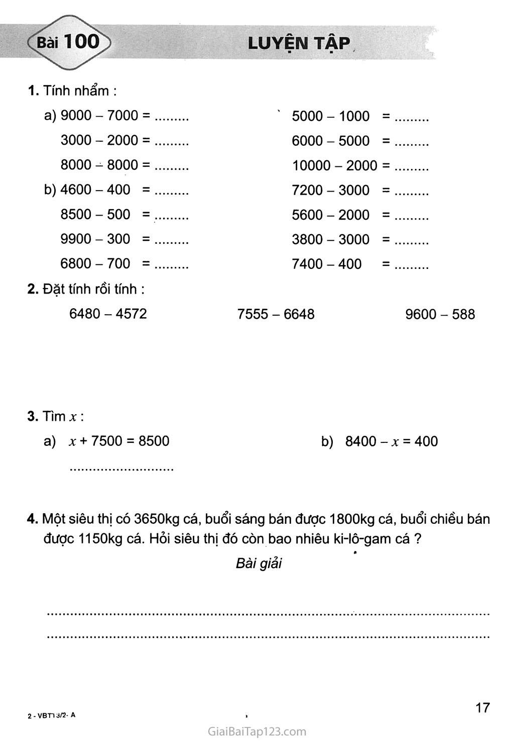 Bài 100: Luyện tập trang 1