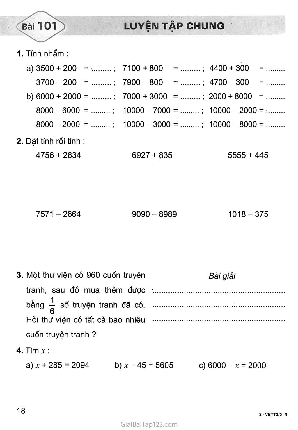 Bài 101: Luyện tập chung trang 1