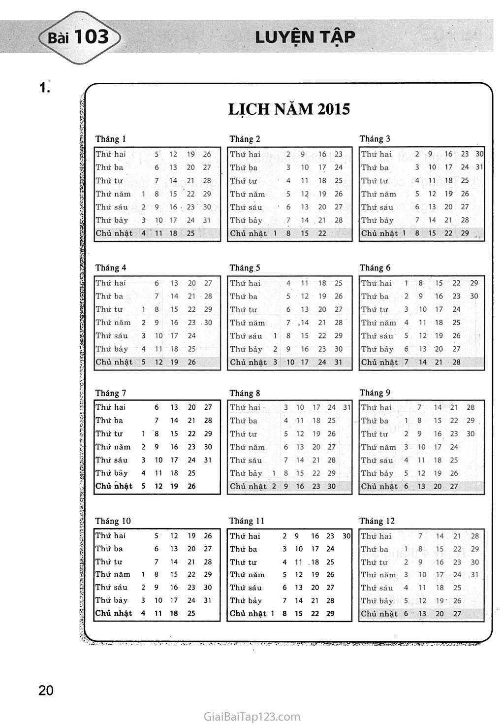 Bài 103: Luyện tập trang 1
