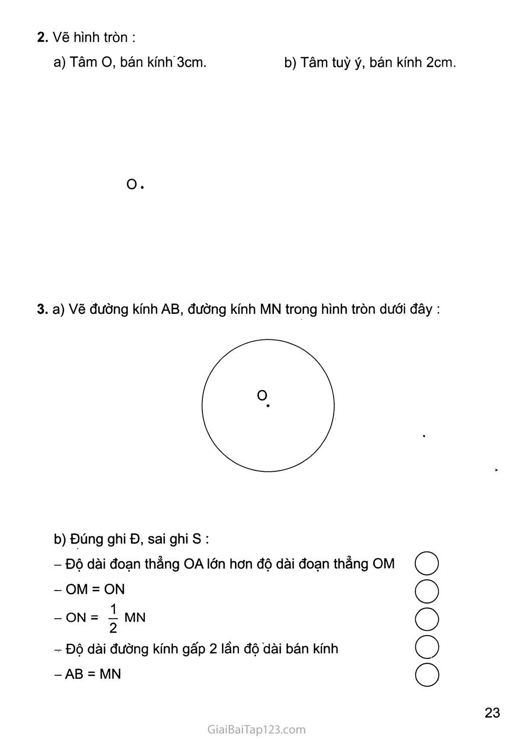 Bài 104: Hình tròn, tâm, đường kính, bán kính trang 2