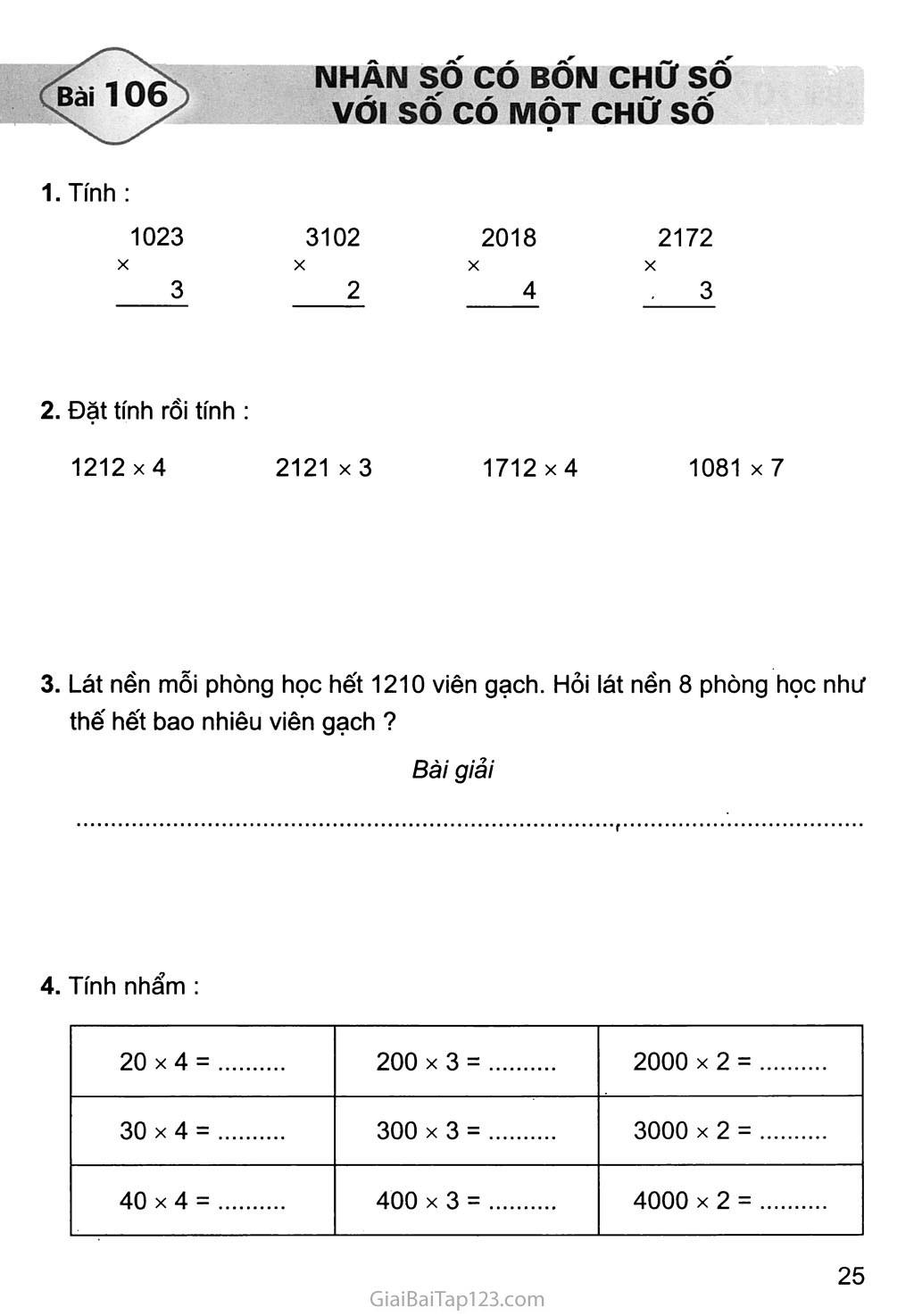 Bài 106: Nhân số có bốn chữ số với số có một chữ số trang 1
