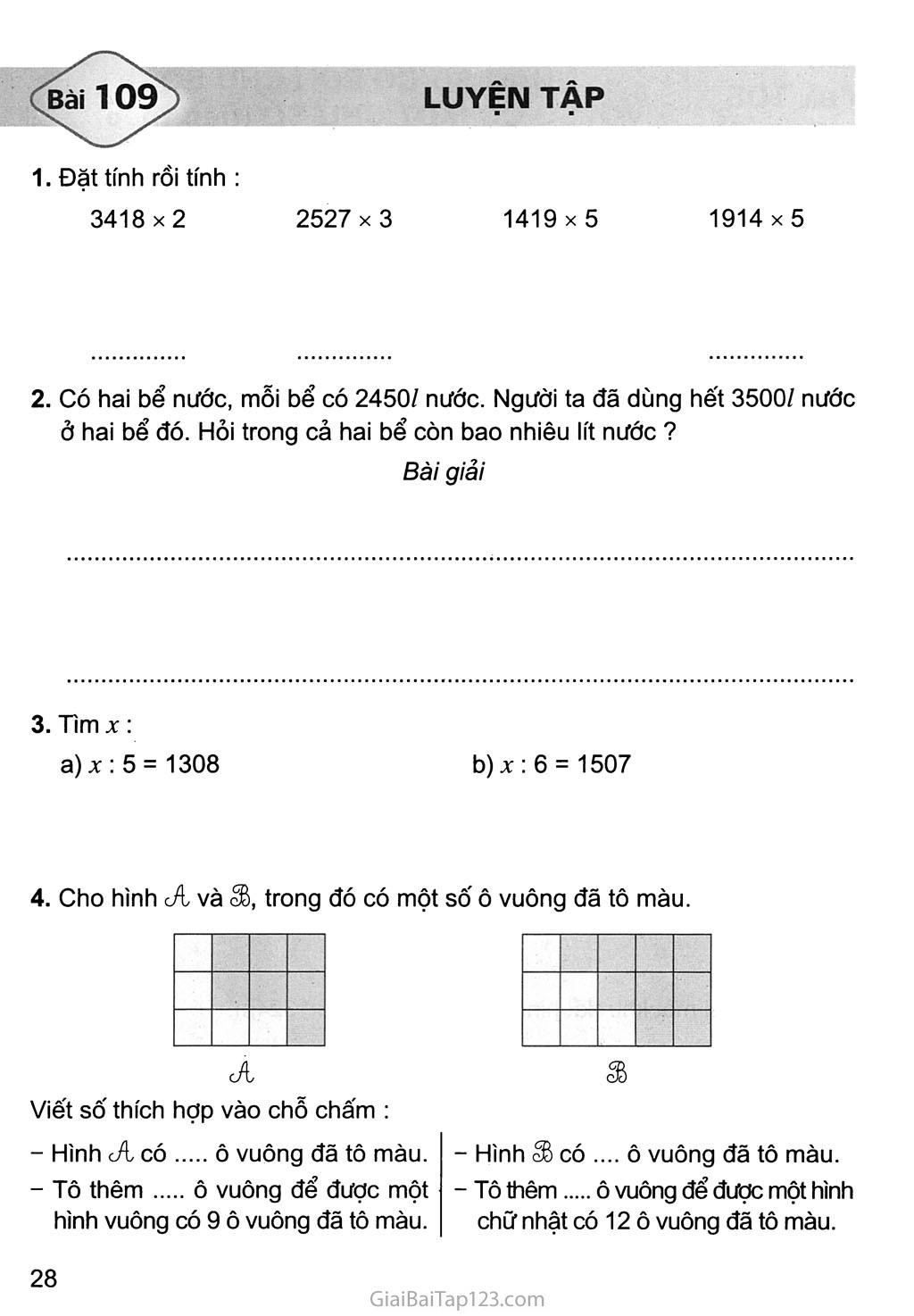 Bài 109: Luyện tập trang 1