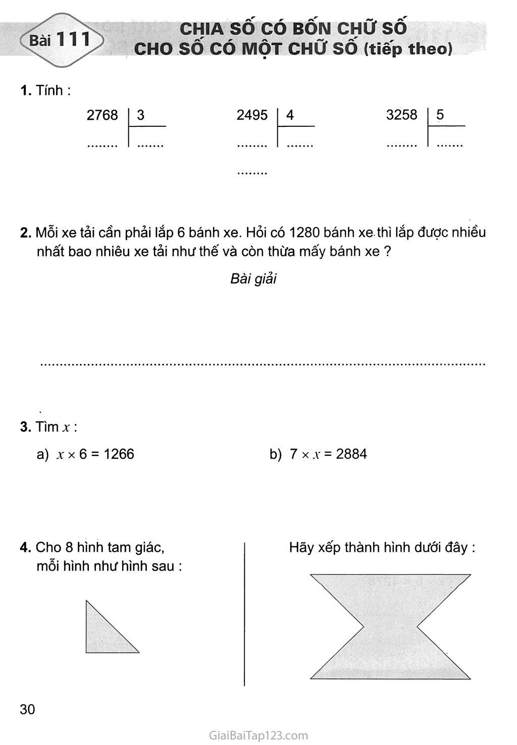 Bài 111: Chia số có bốn chữ số với số có một chữ số (tiếp theo) trang 1