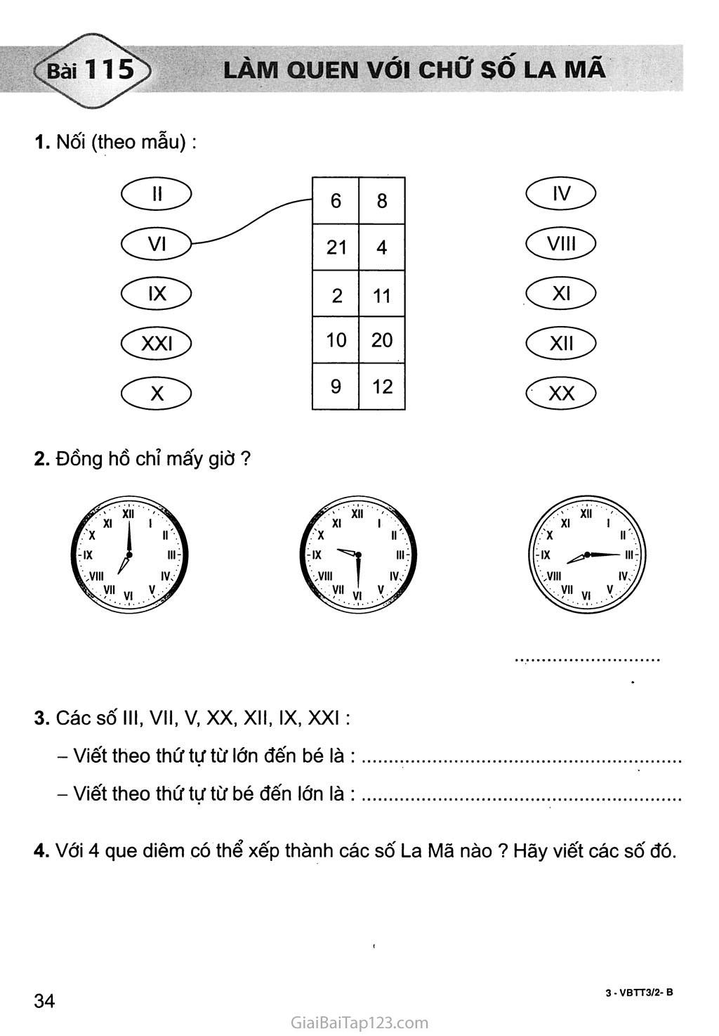 Bài 115: Làm quen với chữ số La Mã trang 1