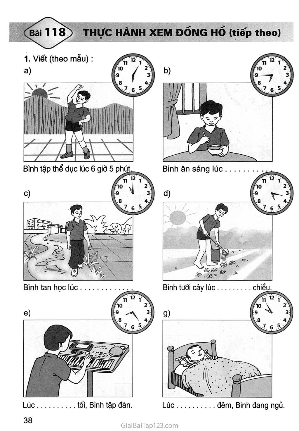 Bài 118: Thực hành xem đồng hồ (tiếp theo) trang 1