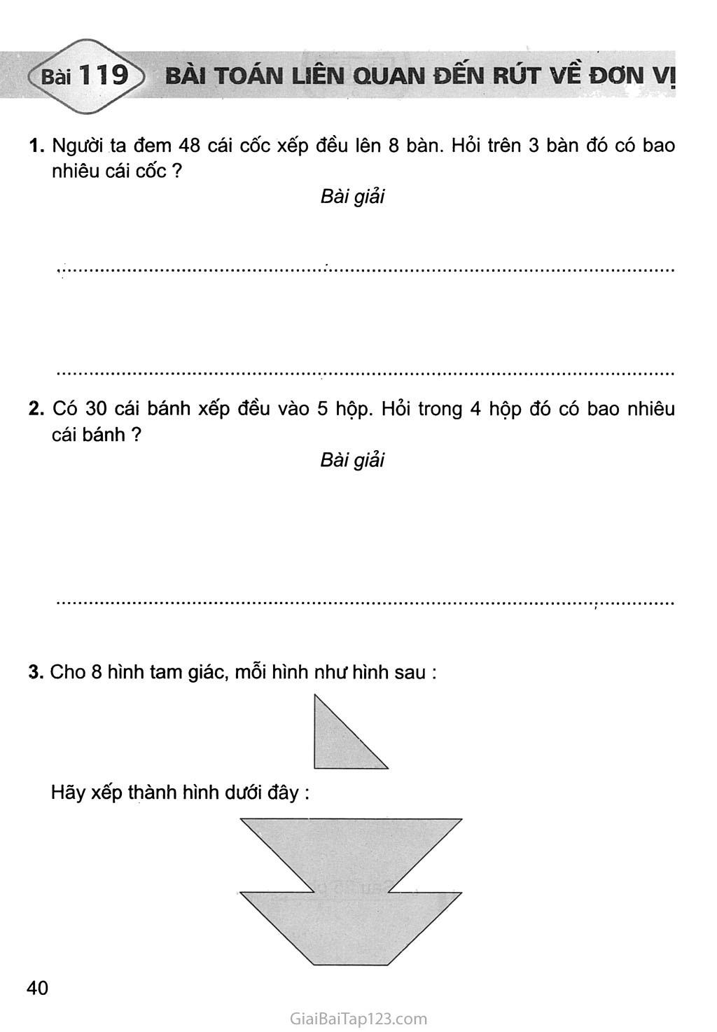 Bài 119: Bài toán liên quan đến rút về đơn vị trang 1