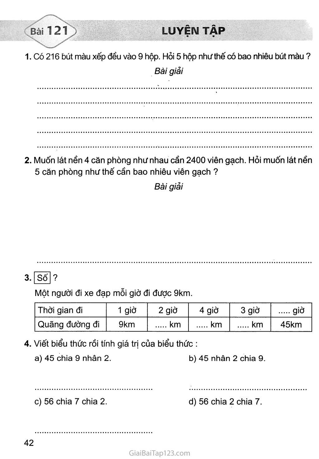 Bài 121: Luyện tập trang 1