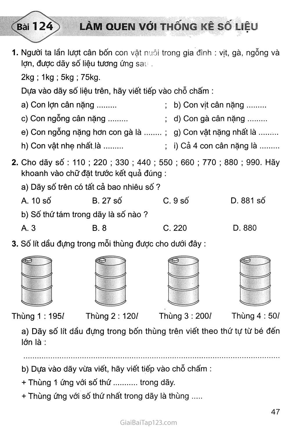 Bài 124: Làm quen với thống kê số liệu trang 1