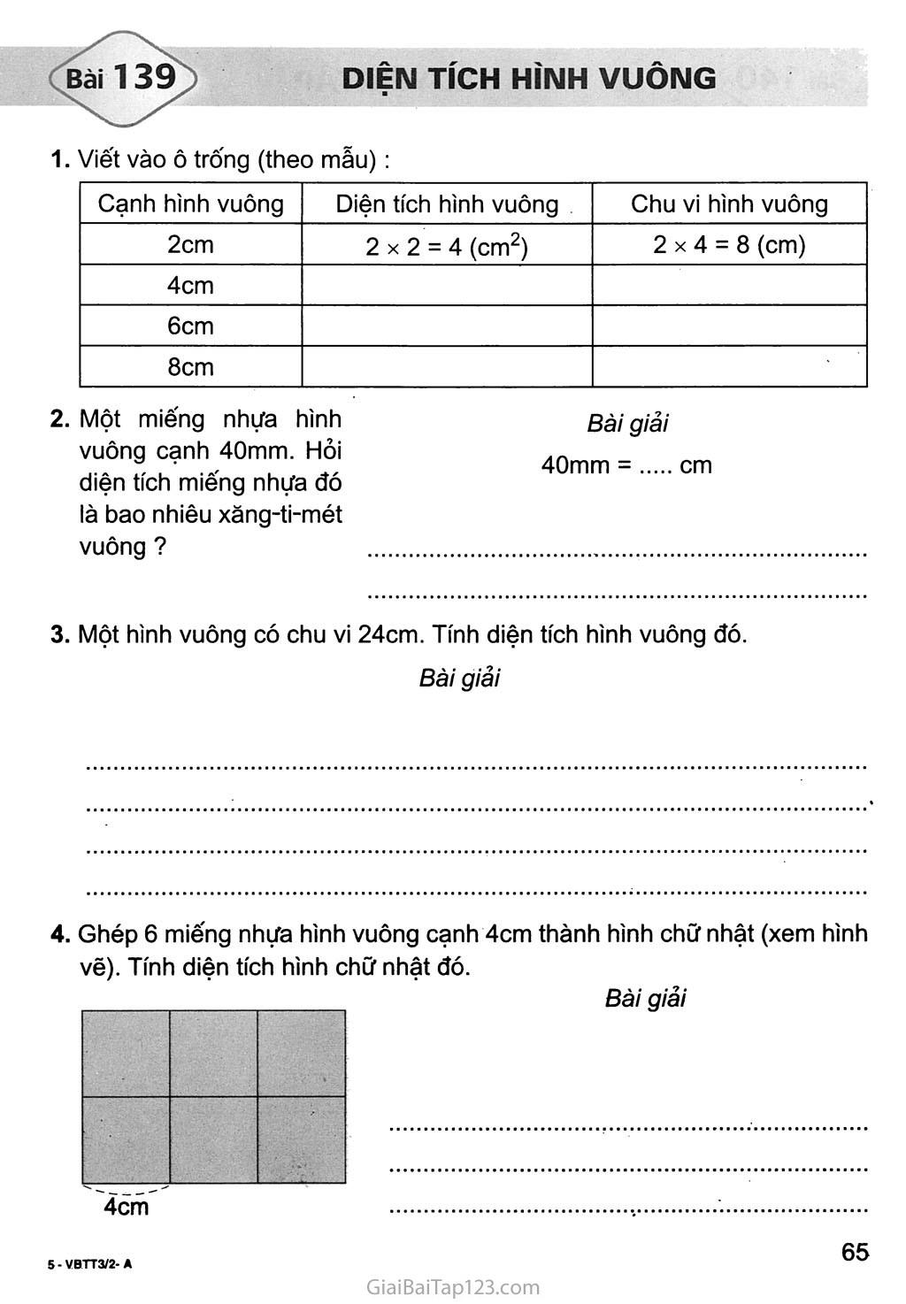 Bài 139: Diện tích hình vuông trang 1
