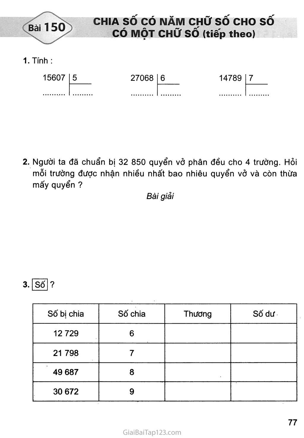 Bài 150: Chia số có năm chữ số với số có một chữ số (tiếp theo) trang 1