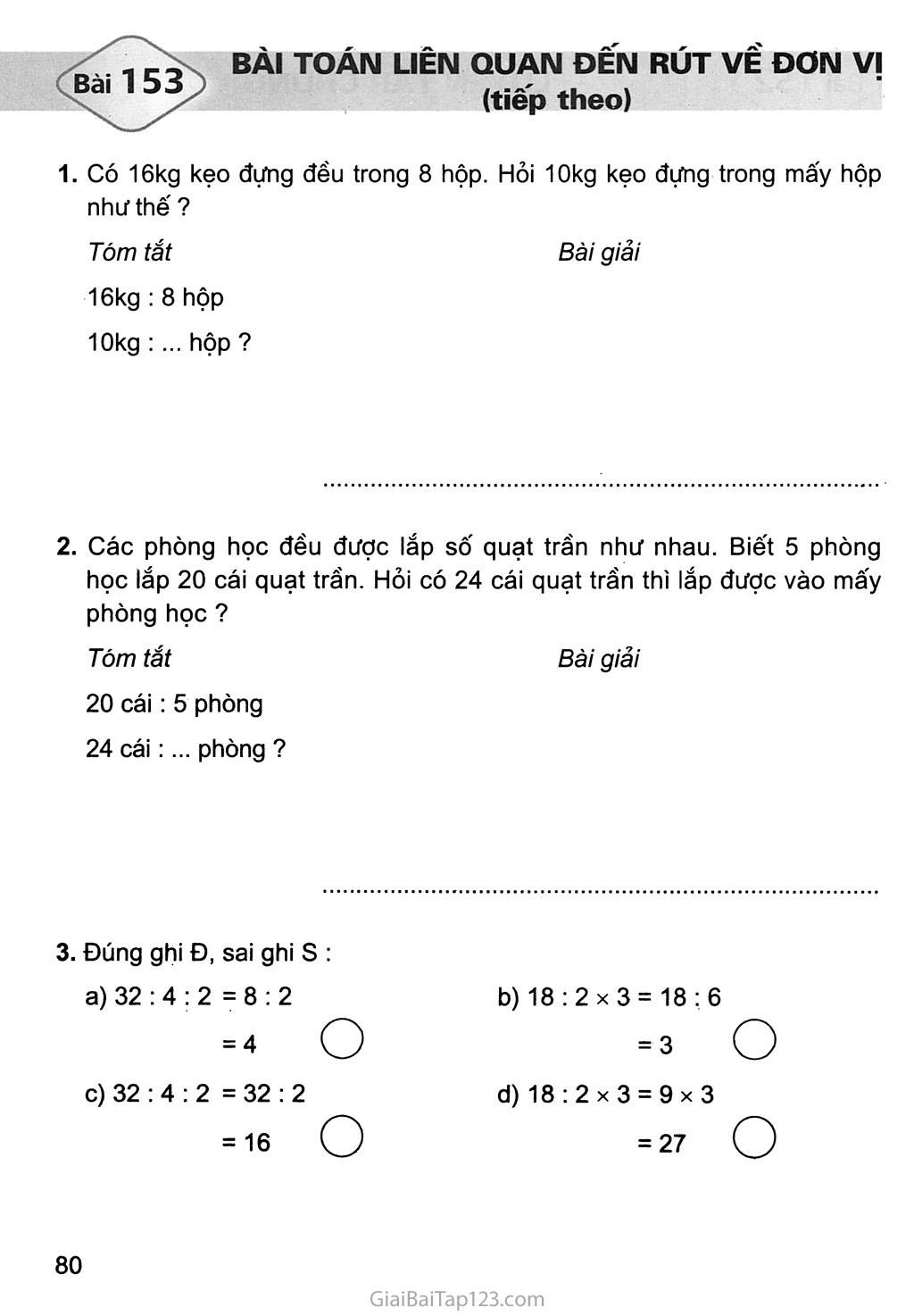 Bài 153: Bài toán liên quan đến rút về đơn vị (tiếp theo) trang 1