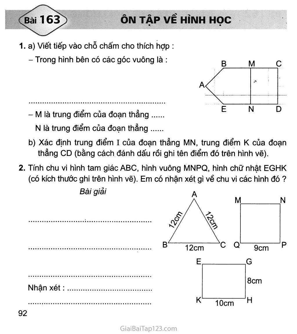 Bài 163: Ôn tập về hình học trang 1