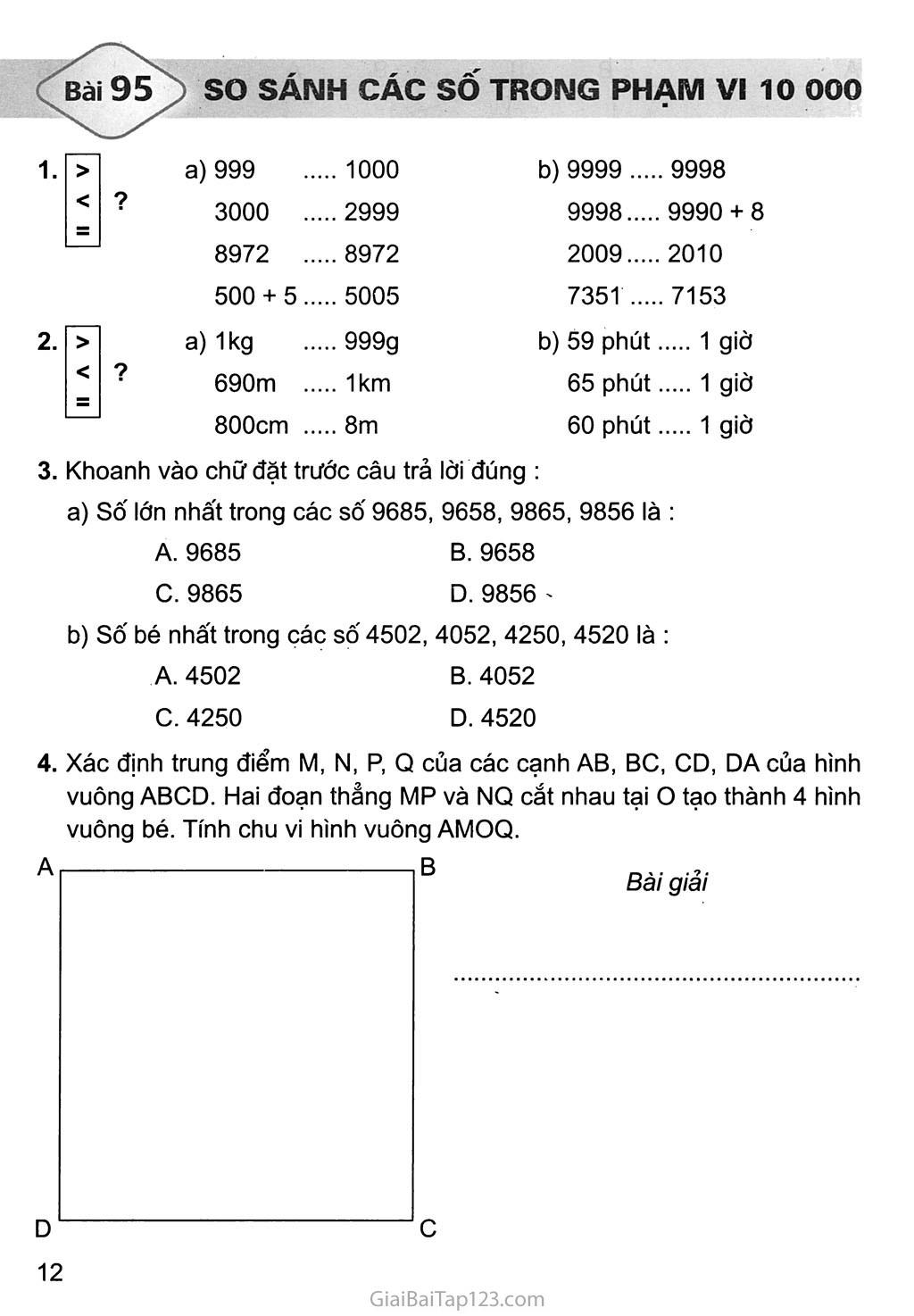 Bài 95: So sánh các số trong phạm vi 10 000 trang 1