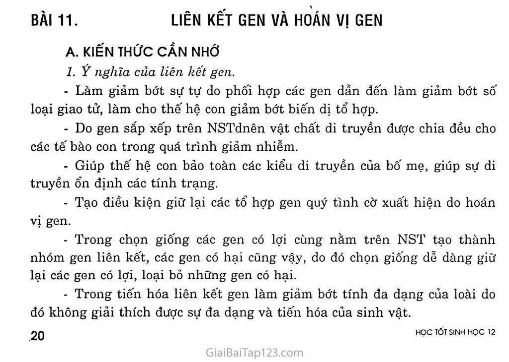 Bài 11. Liên kết gen và hoán vị gen trang 1