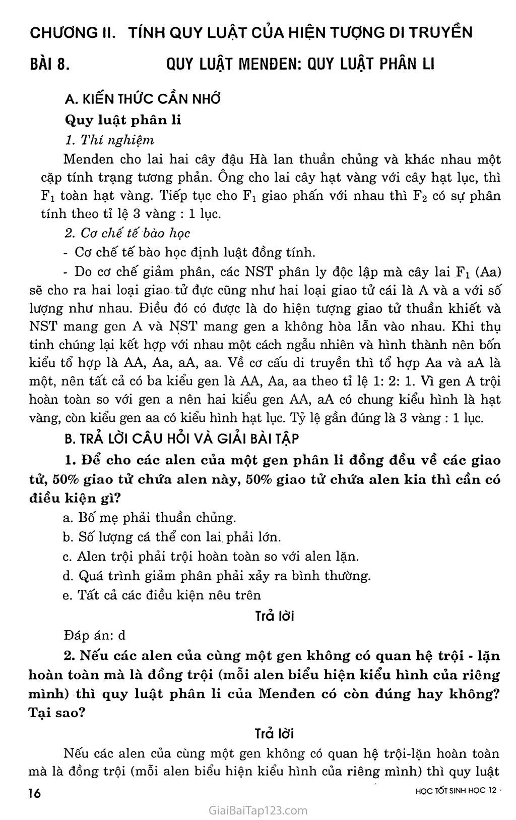 Bài 8. Quy luật Menđen: Quy luật phân li trang 1
