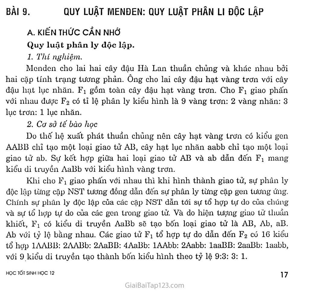 Bài 9. Quy luật Menđen: Quy luật phân li độc lập trang 1