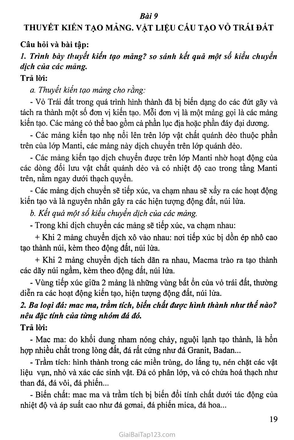 Bài 9. Thuyết kiểu tạo mảng. Vật liệu cấu tạo vỏ trái đất trang 1